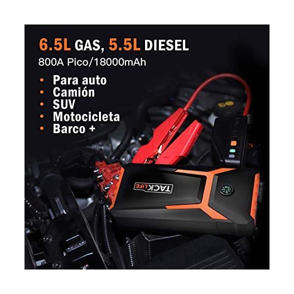 TACKLIFE T8 ARRANCADOR DE Coches de hasta 6500cc (Gasolina) y 5500cc (diésel) – 800A/18000mAh Arrancador deBateríade CocheconPinzasInteligentes, Pantalla LCD, USB de Carga Rápida,Luz LED