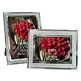 Umi. Essentials - Lot de 2 cadres photo en verre, finition pailletée, 20x25cm