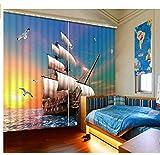 MSCLY 3D Vorhänge Gedruckt Chinesischen Meer Fenster Landschaft Für Wohnzimmer Schlafzimmer Vorhänge Boot Kinderzimmer H200Xw200Cm