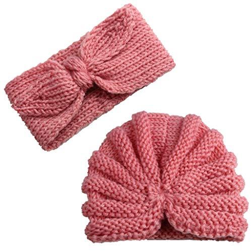 Mitlfuny Unisex Baby Kinder Jungen Zubehör Säuglingspflege,Neugeborenes Baby Mädchen gestrickt Turban Hut Haarband Beanie Headwear Cap Sets