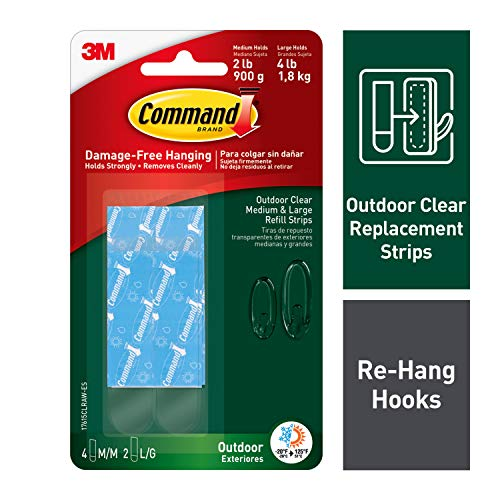 Command Outdoor Clear Strip Refills, Clear, 4-Medium and 2-Large Strips (17615CLRAW-ES)