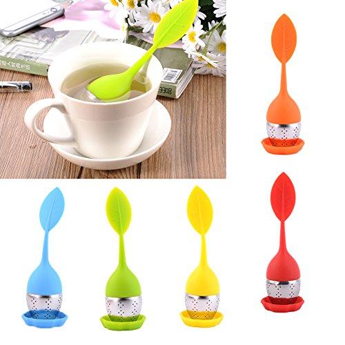 Hjuns® Mignon filtre à thé en forme de feuille en silicone et acier inoxydable sous-marin de haute qualité