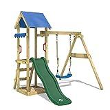 WICKEY Spielturm TinyWave Kletterturm Spielhaus mit Rutsche und Schaukel, Sandkasten und Kletterleiter, grüne Rutsche + blaue Plane