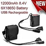Omiky® 8.4V USB wiederaufladbare 12000mAh 6X18650 Akku für Fahrrad Licht Bike Torch