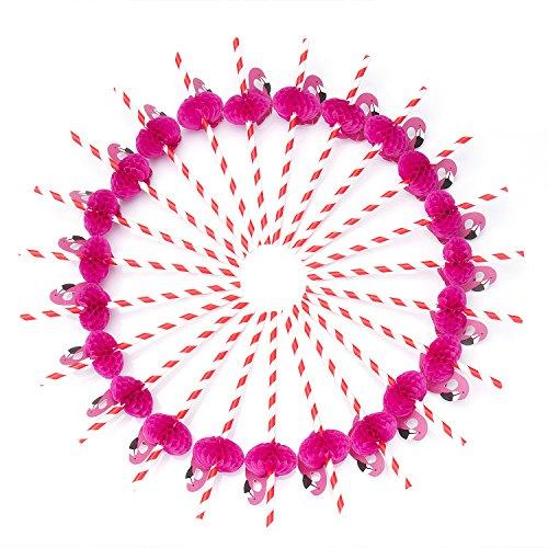 Comius 50 Stück 100% Biologisch Abbaubar Flamingo Papierstrohhalme/Trinkhalme, Partei Liefert Für Hochzeiten, Geburtstage, Baby-Duschen, DIY (Rot)