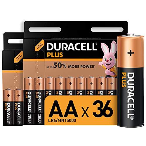 Oferta de Duracell Plus AA, Pilas Alcalinas , paquete de 36, 1,5 Voltios LR06 MN1500