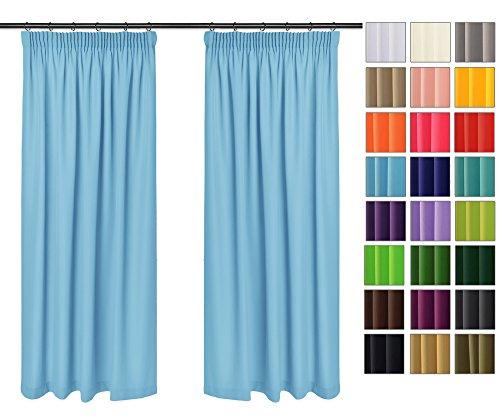 Rollmayer 2er Pack Vorhänge mit Bleistift Kollektion Vivid (Himmelblau 14, 135x150 cm - BxH) Blickdicht Uni einfarbig Gardinen Schal für Schlafzimmer Kinderzimmer Wohnzimmer 2 Stück