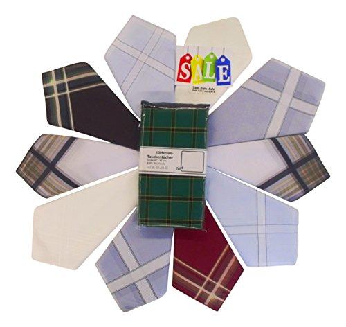 10 feinfädige Herren Stoff-Taschentücher sortiert in verschiedenen Designs