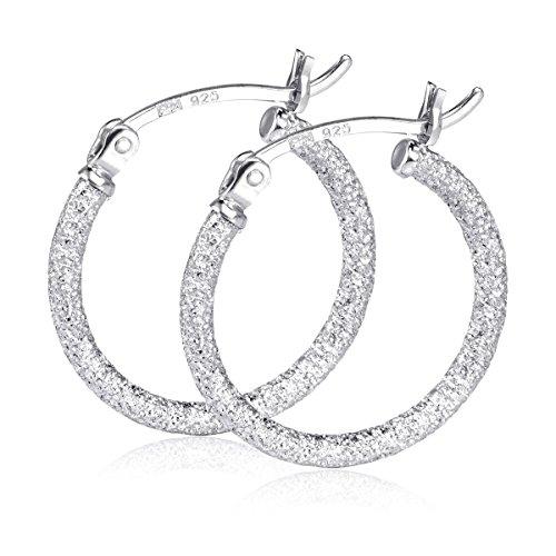 (MATERIA Creolen Silber 925er 20mm - Glitzer Ohrringe Damen rhodiniert diamantiert in Geschenk-Box #SO-357_B4)