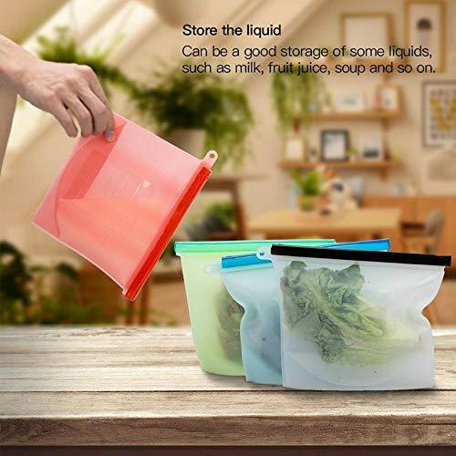 Slide-lock-reissverschluss (MAyouth Wiederverwendbare Lebensmitteltaschen, Silikon Zip Lock auslaufsichere Behälter Taschen Küche Supplies (4Pcs))
