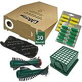 54 tlg Spar Angebot 30 Staubsaugerbeutel Filter Set Bürsten und Duft passend für Vorwerk Kobold VK 130 , Kobold VK 131 und 131 SC