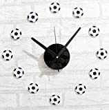 CHLWW Creative Personality Fun Simple Casual Acrylic Sports Soccer Style DIY Silent Wall Clock Decoration,Black