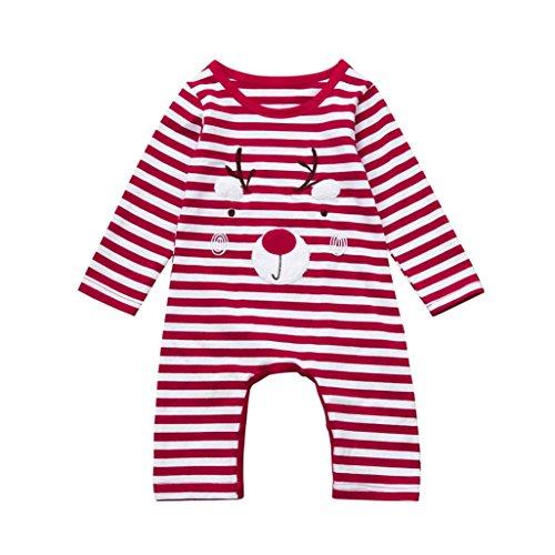 Baby-Overall-Kleidung,BeautyTop Neugeborenen Baby Jungen Mädchen Weihnachten Deer Red Stripe Deer Strampler Overall Outfits Kleidung (90/12-18 Monate, Rot) (2017 Halloween-kostüme Für Jungen Kinder)
