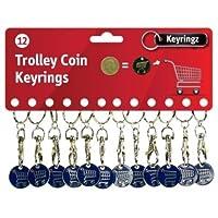 1 (Single) x Funky Trolley £1 Trolley Coin Trolley Keyring for Shopping, Locker etc