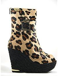 Botín laslolas Potro Leopardo Rana cristal negro Cuña Yute negro 12 centímetros
