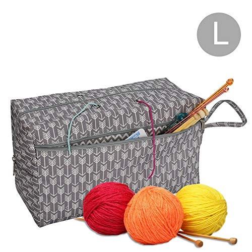 EisEyen Nähkasten Aufbewahrungsbox Nähgarnitur Tasche für Wolle, Tasche Stricken, Häkeln Taschen, Unvollendete Projekte, Häkelnadeln und Anderes Zubehör -