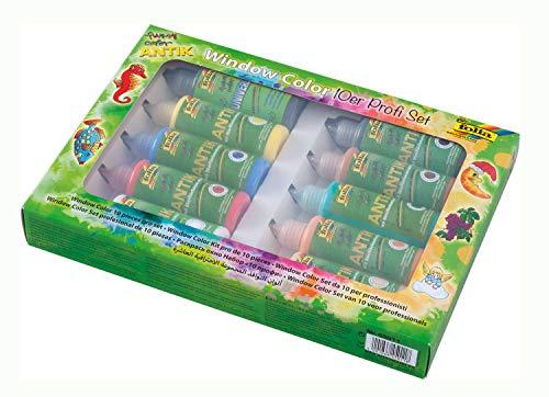 folia 45011 - Funny Window color ANTIK Profi Set 10er Set - Ideal zur Gestaltung von farbenfrohen Fensterbildern