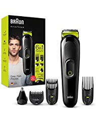 Braun 6-in-1 All-in-one Trimmer 3 MGK3221, Beard Trimmer for Men, Hair Clipper and Face Trimmer with Lifetime Sharp Blades, Ear & Nose Trimmer Head, 5 Attachments, Black/Volt Green, UK Two Pin Plug