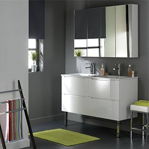 SOLDES Meuble design en 120 cm avec 4 tiroirs Blanc Laqué Blanc PLANETE BAIN