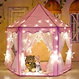 "E-Joy Kids Indoor/Outdoor Tent Fairy Princess Castle Tent,Perfect Hexagon Large Playhouse Toys For GirlsBoys Children Toddlers Gift/Present Extra Large Room 55""x 53""(DxH) Pink With LED Light"