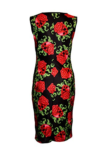 Enchanting Skull Roses Gothic Bodycon Wiggle Style Dress (L/XL)