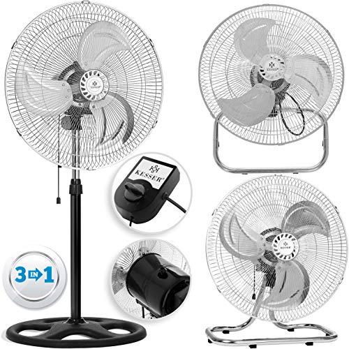 KESSER® 3 in 1 Ventilator Ø 45 cm | Chrom Standventilator + Tischventilator + Wandventilator |mit Oszillation | Windmaschine | Ventilator | Lüfter Gebläse | höhenverstellbarer Standfuß -