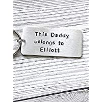 This Daddy Belongs To Keyring Hand Stamped Key Ring Personalised Dad Gifts