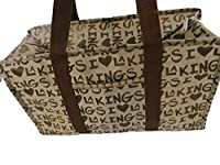 10 Designs: Animal Spotted Polka Dots Paws Newspaper USA Print Oil Cloth Silky Style Waterproof Ladies Shopping Over Night Weekend Holdall Handbag - by Fat-Catz-copy-catz (LA Kings Print Silky Bag)