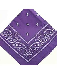 LARGE PURPLE Bandana Black white square Paisley pattern