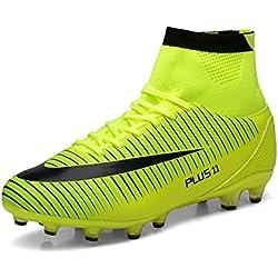 WOWEI Zapatos de Fútbol Spike Aire Libre Profesionales Atletismo Training Botas de Fútbol Adolescentes Adultos Zapatos de Deporte,Verde,EU37
