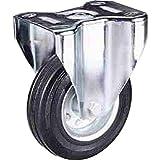 Ruota con anello in gomma piena nera con disco in ferro Diametro mm.150 Portata Kg.150 con Supporto Fisso mozzo con cuscinetto a rullini Ruote per carrelli a traslazione manuale per carichi medi