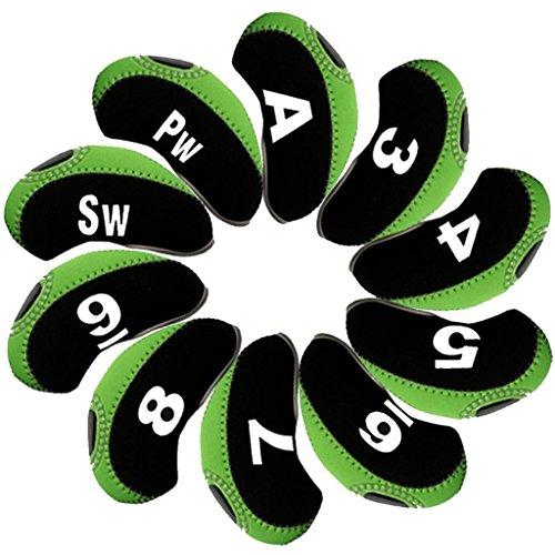 Andux Anzahl golf Schlägerkopfhüllen Golf Eisen deckt Eisenhauben 10pcs/set MT/s01 schwarz/grün (Iron Golf)