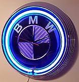 NEON CLOCK NEONUHR- BMW-GROSS CARBON SIGN-WANDUHR BELEUCHTET MIT BLAUEN NEON RING-ERHÄLTLICH AUCH MIT ANDEREN NEON FARBEN!