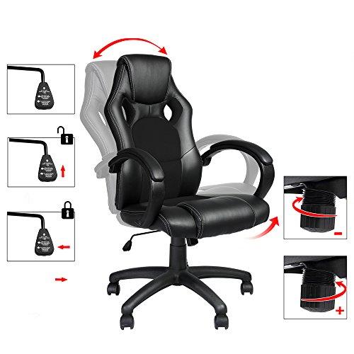 "Office Desk Chair ""Comfort"" – Racing Design Sport Swivel – Extra Padded Ergonomic PU Leather High Back Gaming Recliner – Black PU"