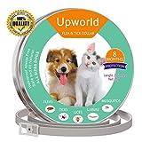 Upworld - Collar de pulgas y garrapatas para Perros de 8 Meses para Evitar la pulgas y el Gato, Ajustable, Resistente al Agua y no alérgico, Aceite Esencial extraído de Planta Natural, Talla única