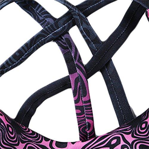 Vita alta, da donna, per Yoga, Sport, Fitness-Pantaloni Stretch-Leggings a 3/4 Hotpink bra