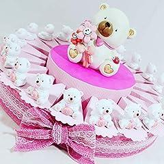 Idea Regalo - regali di nascita bambina, gadget per festa di compleanno femmina, orsetto LOVE con confetti cioccolatini rosa - Nel prezzo è compresa la struttura a forma di torta con 20 scatoline + 20 orsetti + salvadanaio + confetti dolcetti rosa