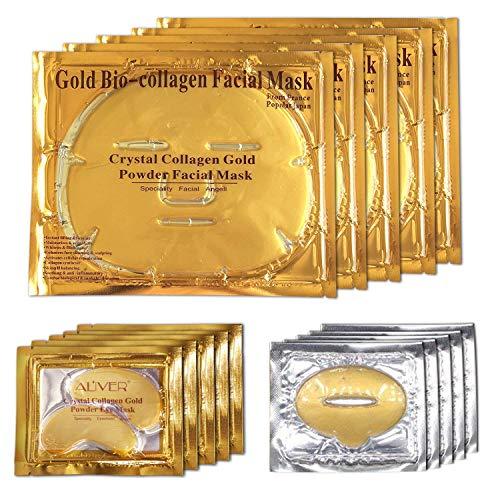 ALIVER 24K Gold Bio-kollagen Gesichtsmaske + Gold Pulver Augenmaske + Gold Lippenmaske (5 sätze/paket) -