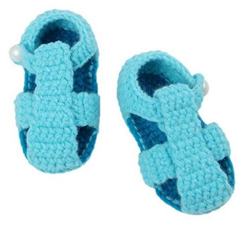 Bigood(TM) 1 Paar Strick Schuh Baby Unisex Strickschuh One Size süße Muster 11cm lilienweiss Blume Hellblau K
