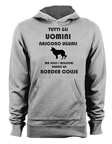 Felpa con cappuccio Tutti gli uomini nascono uguali ma solo i migliori hanno un border collie - cani - dog - humor - Tutte le taglie Grigio