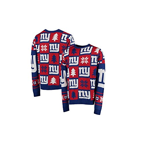 Forever Collectibles NFL New York Giants Patches Ugly Sweater