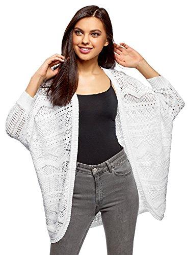 oodji Ultra Damen Verschlussloser Ajour-Cardigan, Weiß, DE 40/EU 42/L (Weiße Baumwolle Strickjacke)