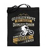 Shirtee Fahrradfahrer Radfahrerin Radler Mountainbike Rennrad Glück Fahrrad kaufen Geschenk - Jutebeutel (mit langen Henkeln) -38cm-42cm-Schwarz