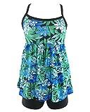 Damen Tankini Push Up mit Slip Badeanzug Blumen Figurformend Bademode Als Bild 2XL