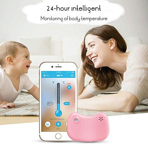 Pflege Behandelt (Greenbang Baby Smart Thermometer für Fieber, Smart Thermometer mit Mobile Alarms Bluetooth 4.0 Wireless Phone Pflege Baby Girl behandelt 24HR kontinuierlich(Pink))