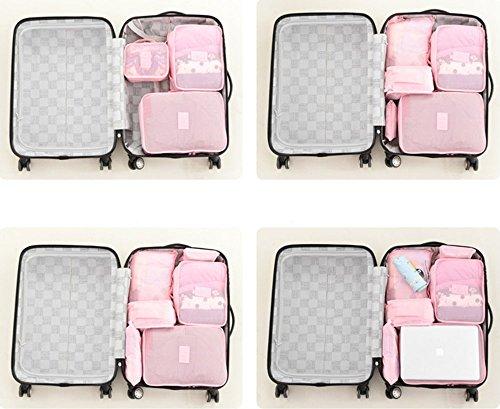 caolator 6pcs Reise Gepäck Organizer Staubsaugerbeutel Set Cosmetic Bag Kleidung Speicher-Aufbewahrungstasche