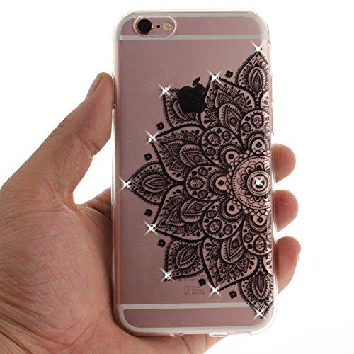iPhone 6S 4,7Zoll Hülle,iPhone 6 Silikon Schutzhülle,TOYYM Ultra Dünn Transparent Weich Flexibel TPU Bumper Gel Glizter Diamant Silikonhülle Backcover,Retro Muster Design Clear Crystal Durchsichtig Ha Schwarze Blume
