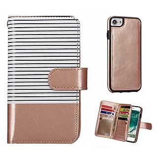 Asnlove Premium PU Leder Case Tasche 2 en 1 Multifunktions Brieftasche Handyhülle im Bookstyle mit Geldbörse Magnet Wallet Abnehmbare Hintere Schale für iPhone 6/7/8 4,7 Zoll (Weiss/Rose Gold)