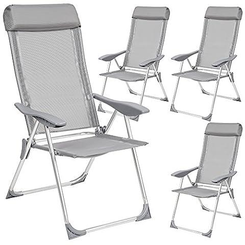 TecTake Lot de 4 aluminium chaises de jardin pliante avec accoudoir gris