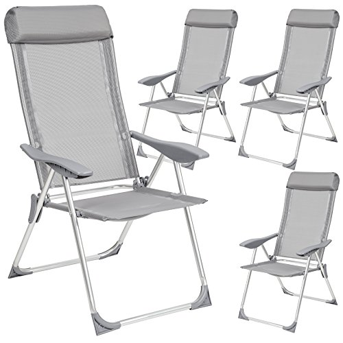 TecTake Set di 4 alluminio sedie da giardino pieghevole con braccioli grigio